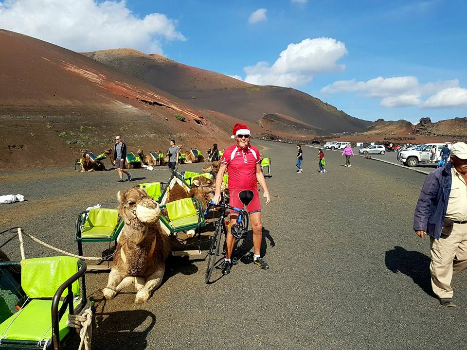 Cycling with the camels at Timanfaya